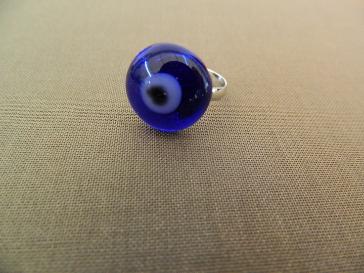 "Fused glass blue ""eye""ring"