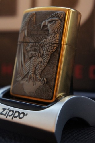 "ZIPPO LIGHTER LUXURY 24Ct GOLD PLATED HARLEY DAVIDSON EAGLE EARTH ""Bar & Shield""  RARE AND UNUSUAL ZIPPO PRODUCTS AT AFFORDABLE PRICES FROM easyonthewedge2011"