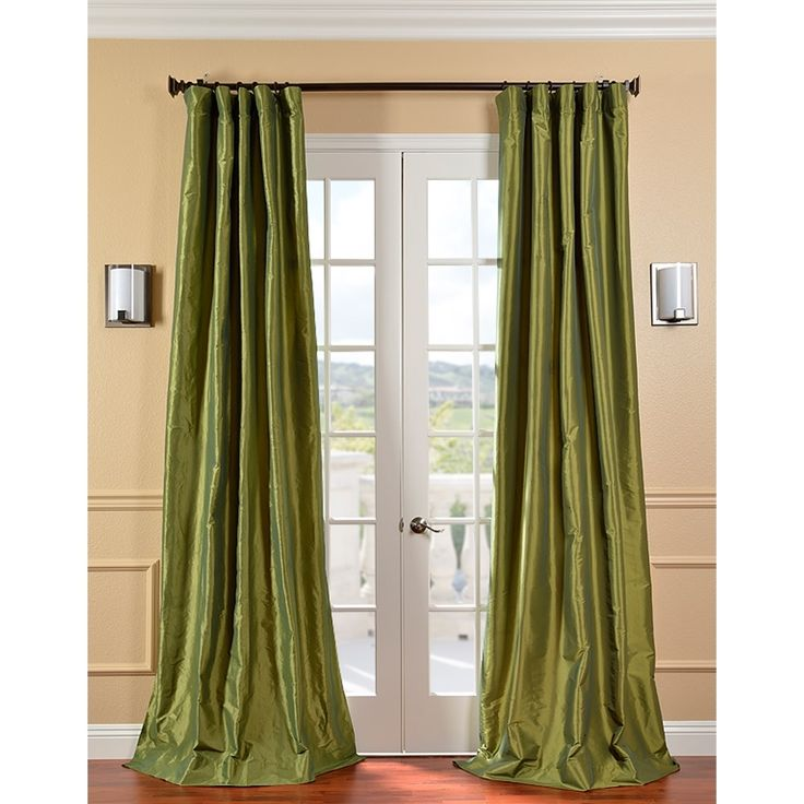 Fern Green Solid Faux Silk Taffeta Curtain Panel