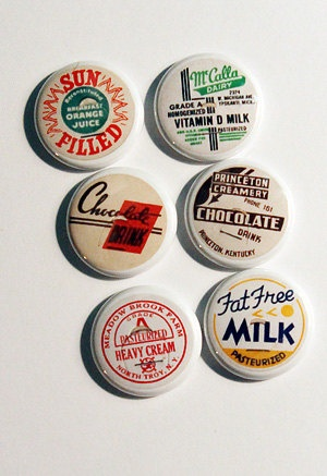 Vintage milk/juice caps on one inch flair buttons! Great for any vintage project! $6.00