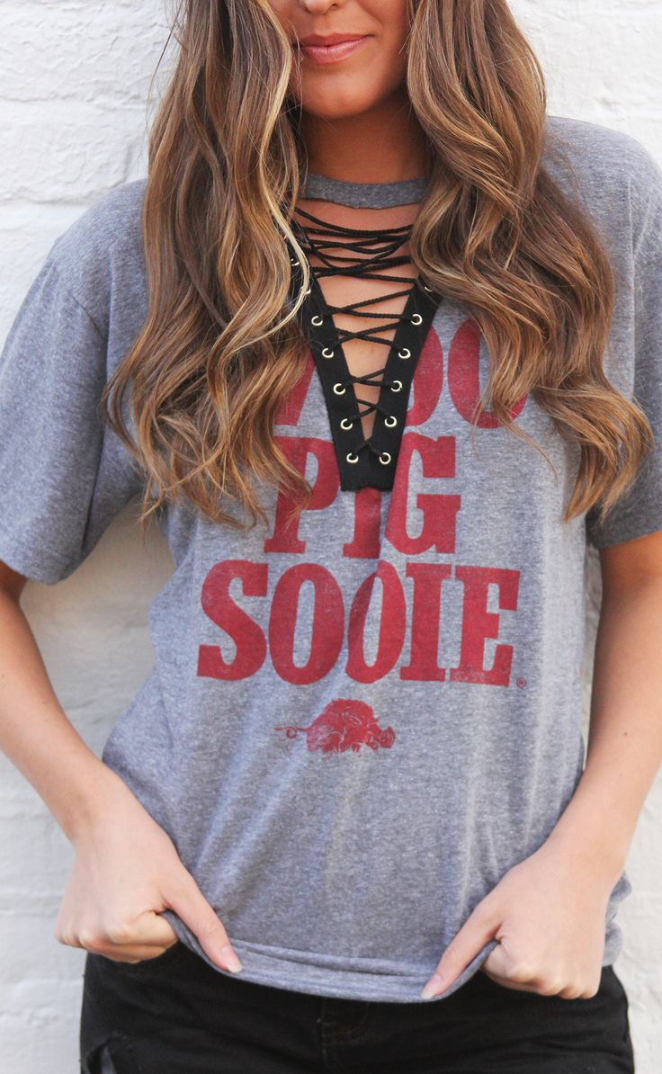charlie southern: woo pig sooie lace up t shirt