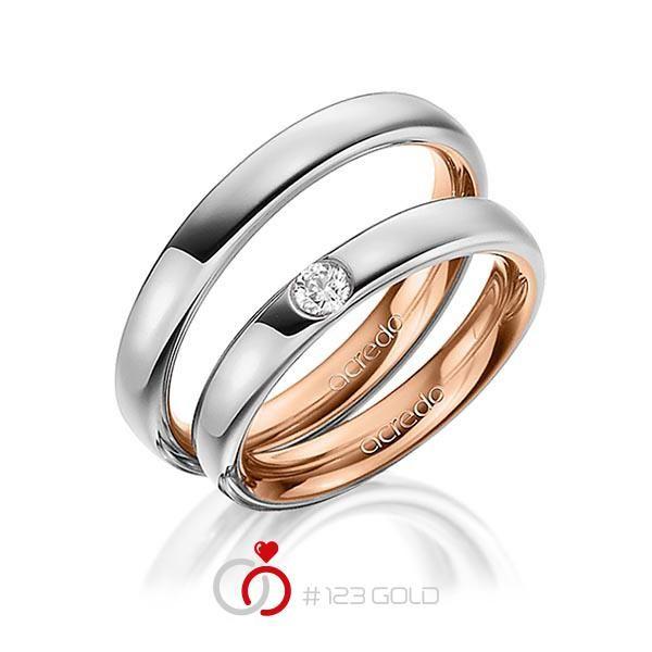 1 Paar Trauringe - Legierung: außen Graugold 585/- , innen Rotgold 585/- Breite: 3,50 - Höhe: 2,30 - Steinbesatz: 1 Brillant 0,12 ct. tw, si (Ring 1 mit Steinbesatz, Ring 2 Trauringe Steinbesatz)