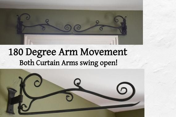 Curtain Rod Hand Forged Swing Arm Curtain Decorative Rod