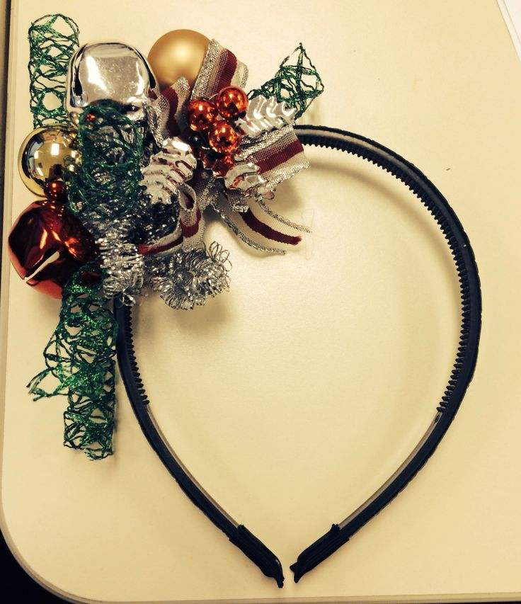 DIY from dollar store, Super cute/tacky Christmas headband for ugly Christmas sweater party!
