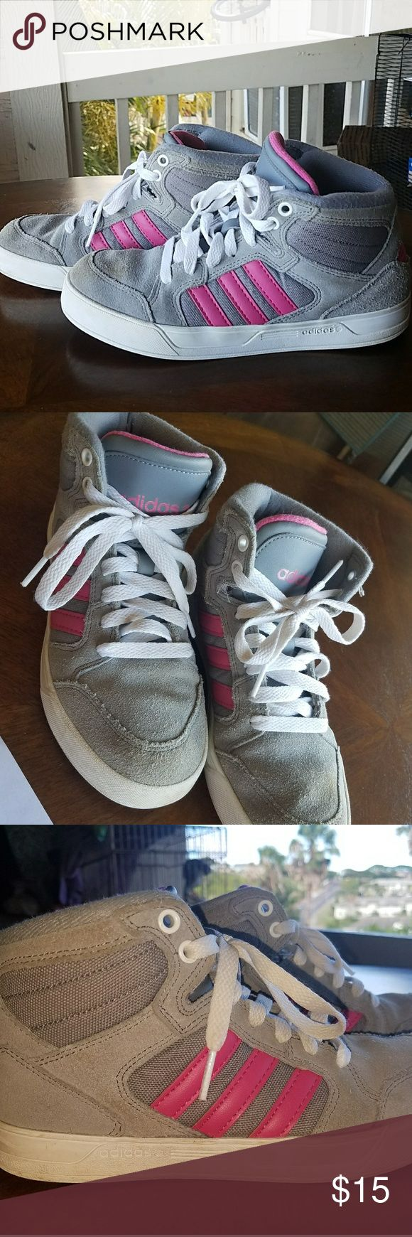 Adidas Neo Raleigh High Top Girl Sneakers Grey and pink Adidas  sneakers size 4 1/2 In gently used condition adidas Shoes Sneakers