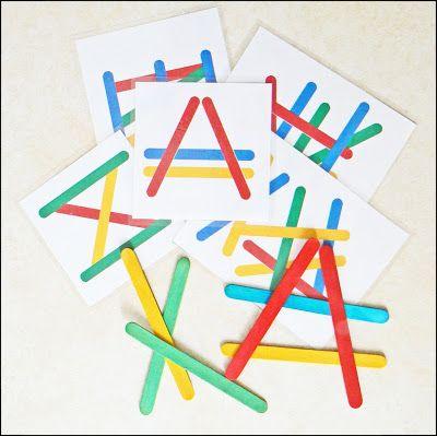 Buenos días:     Hoy os traigo un juego muy barato pero muy divertido.     Se trata de imitar formas con palos de polo.     Os dejo varios ...