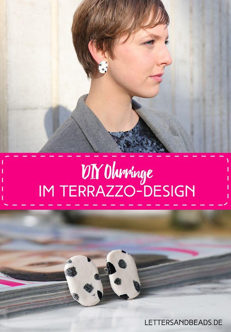 #terrazzo #design #ohrringe #schmuck #accessoires #ohrstecker #earrings #fimo #basteln #selbermachen #selbstgemacht #doityourself #handmade #trend #weiß #schwarz #silber #grau #white #black #silver #earrings #jewelry #tutorial #anleitung #howto