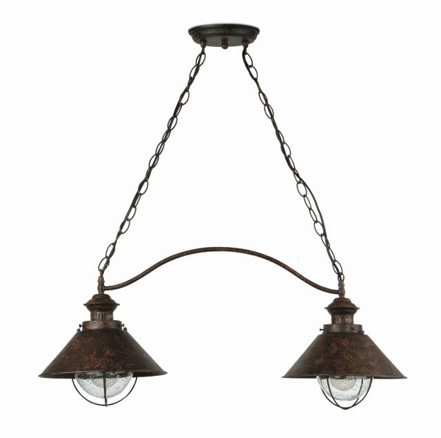 Lámpara Colgante Rústica de dos luces #jardin #iluminacion #lamparas