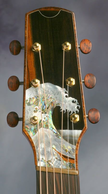"* BASHKIN guitars ~ ""Great Wave"" headstock shown ~ Simply AMAZING craftsmanship ! Here is a link for their website > http://www.bashkinguitars.com/ ~"