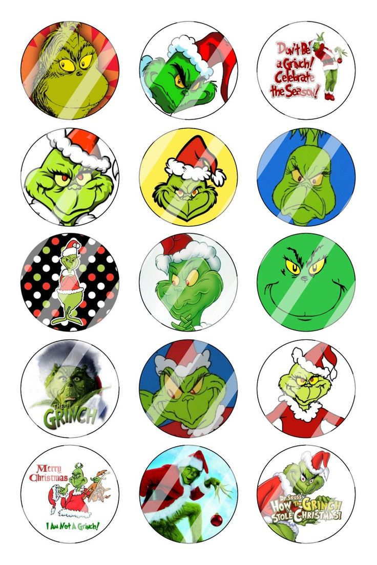 "Grinch Christmas Bottle Cap 1"" Circle Images Sheet 1"