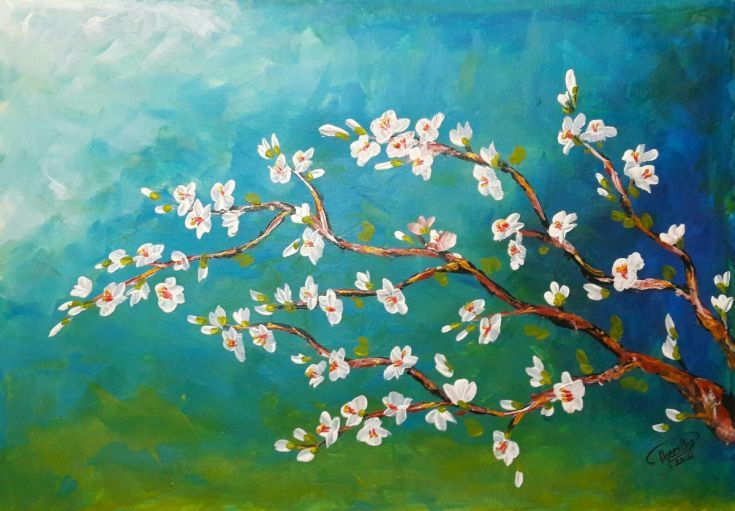 Buy Cherry blossom, Acrylic painting by Theertha Raj on Artfinder. Discover thousands of other original paintings, prints, sculptures and photography from independent artists.