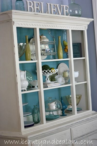 DIY Hutch Redo. Take a basic brown wooden hutch, add a pop of color (Annie Sloan's Provence) and see the amazing DIY painting transformation that anyone can do.