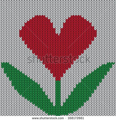 Knitted heart flower. Valentine day holiday handmade seamless pattern. Abstract ornamental background. Illustration texture. Raster version