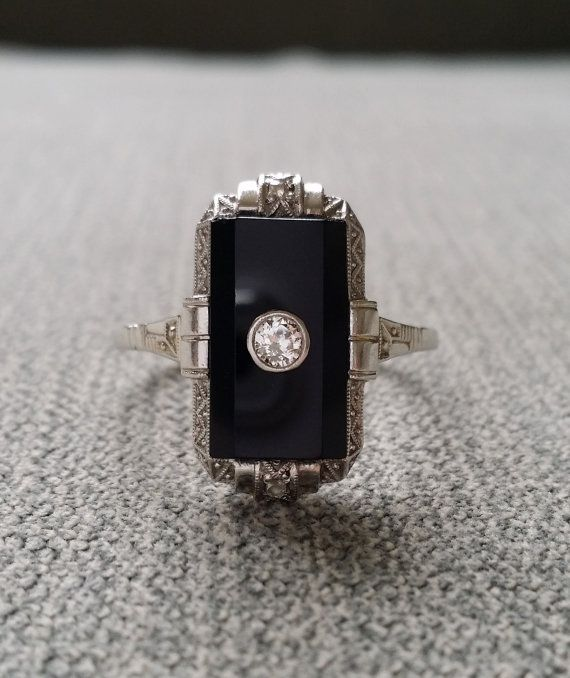 Antique Black Onyx Diamond Ring Filigree Art Deco Engraved Carved Engagement Ring Edwardian Art Nouvea Gothic Bohemian 14K White Gold size 9