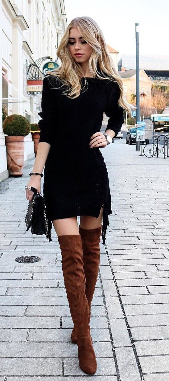 797210a71a winter #outfits pair of brown leather thigh-high boots | Thigh High ...