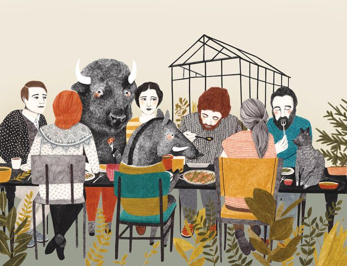 Decorate your table or kitchen wall for that matter with beautiful illustrations, like this one from Lieke Land.