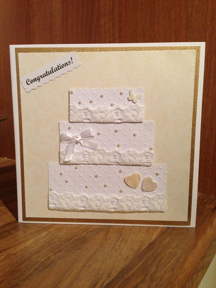 Wedding card with textured paper and lace