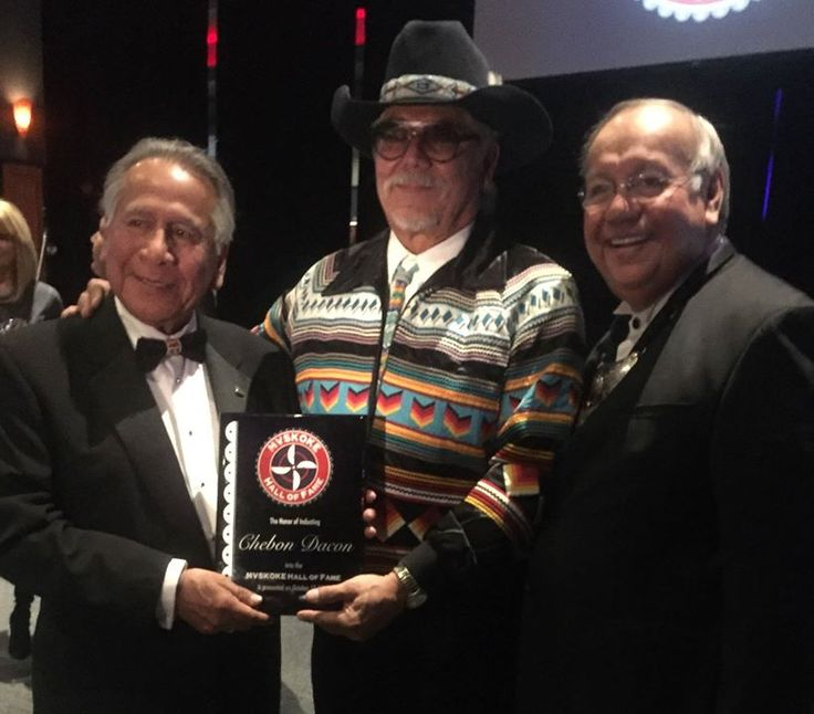 Chebon Dacon inducted into the Mvskokē Hall of Fame by Chief George Tiger(the principal chief of the Muscogee (Creek) Nation). It was a great event and it was well deserved. Chebon is a great man.