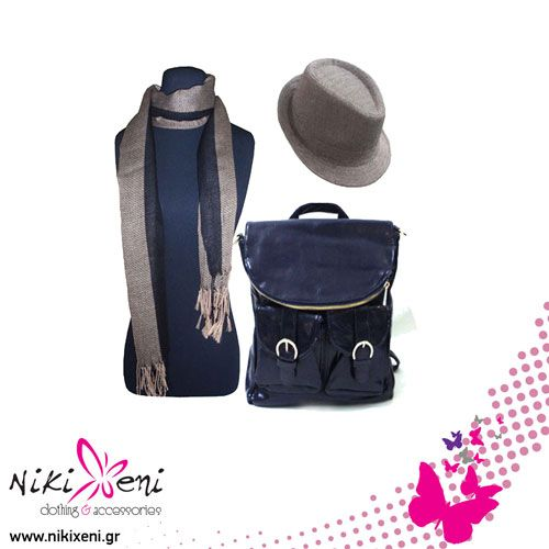 Backpack with two big pockets and two small in front , black& white hat and assorted scarf._fashion woman accessories.