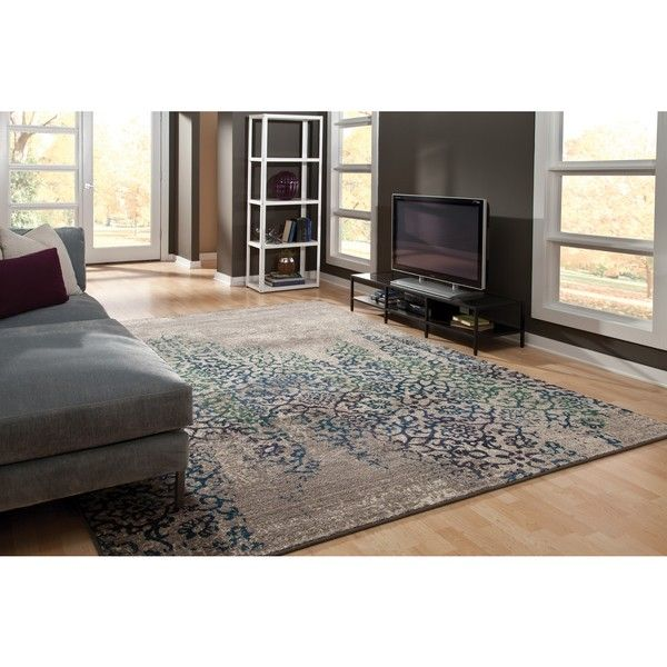 Style Haven Distressed Motif Grey/ Blue Rug X (Machine Made X Polypropylene Area  Rug) (Olefin, Abstract)