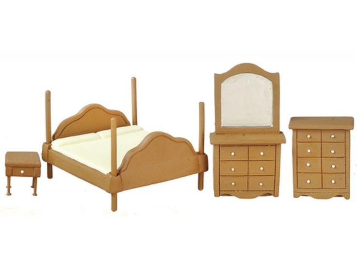Dolls House Walnut Bedroom Furniture Set Suite 1:24 Half Inch Scale #bedroomfurnituresets