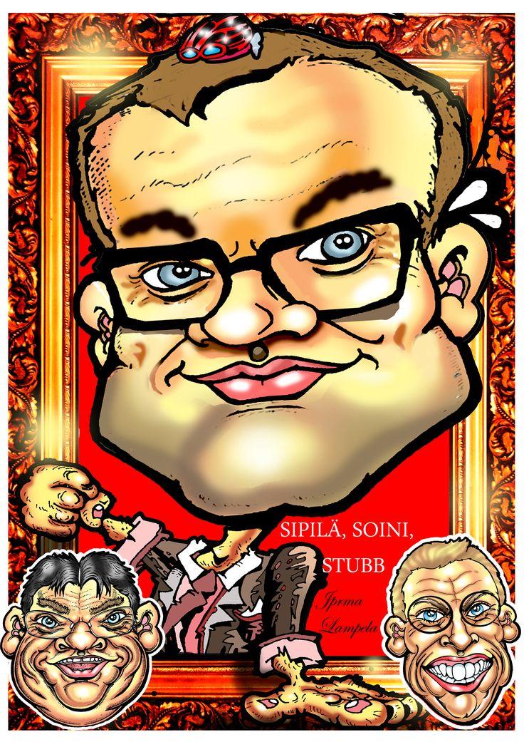Karikatyyri, Juha Sipilä, Timo Soini ja Alexander Stubb / Caricatures of Sipilä, Timo Soini ja Alexander Stubb by caricature artist Jorma Lampela