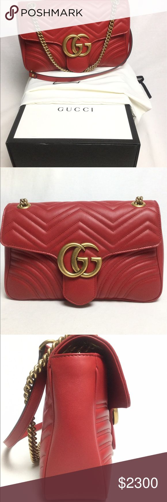 """GUCCI GG MARMONT MATELASSE SHOULDER BAG IN STORES NOW.   Current retail $2300.  Purchased a month ago and paid almost $2500 with tax.  In EXCELLENT Condition - LIKE NEW. This medium GG Marmont chain shoulder bag has a softly structured shape and an oversized flap closure with Double G hardware. Shoulder strap with 22"""" drop or can be worn as a top handle with 12"""" drop  Medium size: 12""""W x 7.5""""H x 3""""D  Include Dust bag, care card, copy of purchase receipt, box and Gucci paper bag.  Price Firm…"""