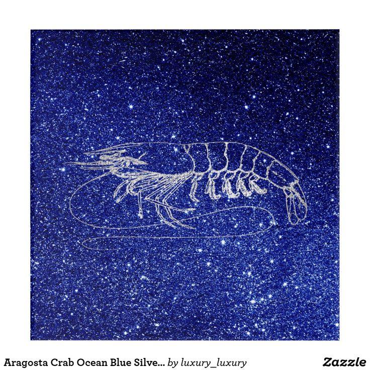 Aragosta Crab Ocean Blue Silver Gray Beach Navy