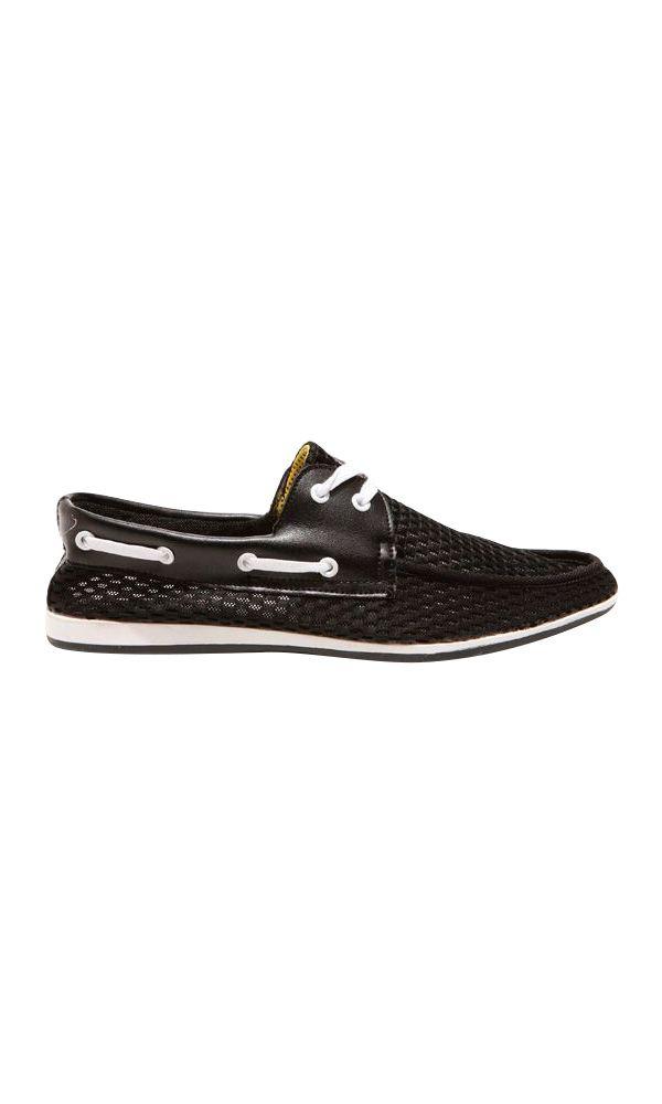 FÅNE - Boater Black Canvas/Nylon Boat Shoe