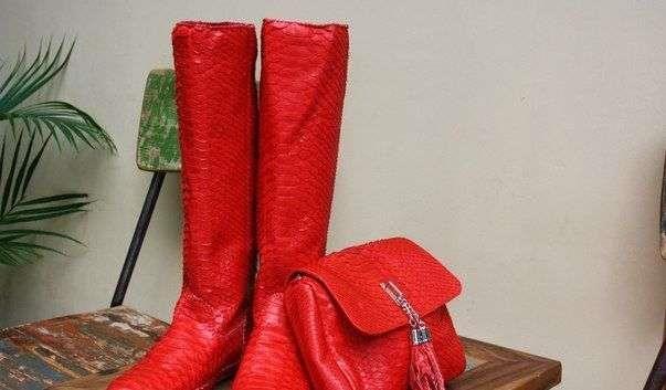 Обувь красные ботильоны кожаные