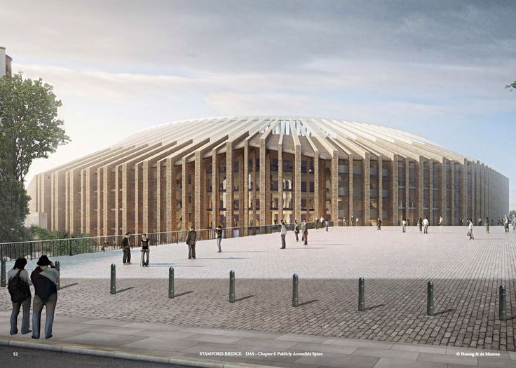 Chelsea football stadium redesign to increase capacity with a series of brick…