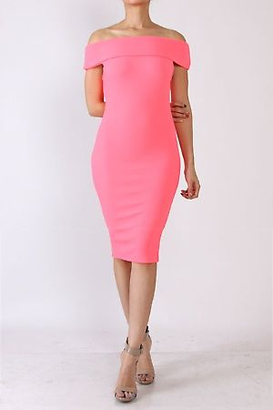 Classic off-shoulder midi cocktail dress . Feature Off shoulder midi style not see through Occasion Cocktail Evening Clubwear Color White,FUCHSIA,Blue,Black,NEON PINK  96% POLYSTER, 4% SPANDEX