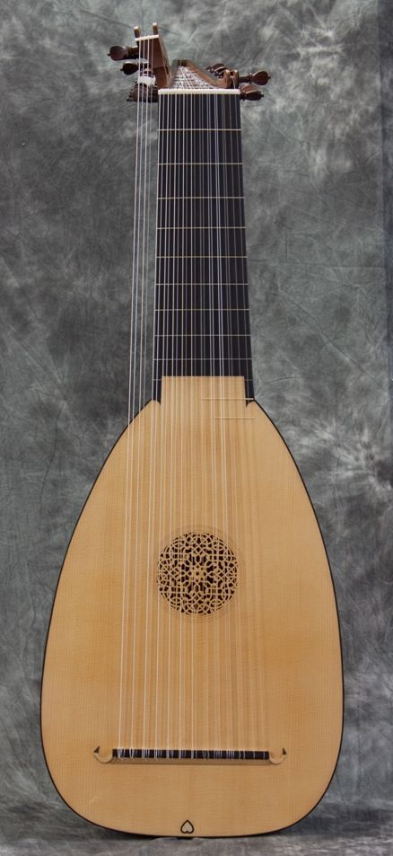 The Burkholtzer Lute - The original instrument was made by Hans Burkholtzer in Füssen in 1596 and is now in the Vienna Kunsthisorisches Museum, item number SAM 44. It was probably made as a seven or eight course instrument and there is a label inside which indicates that conversion to eleven courses was executed in 1705 by Thomas Edlinger of Prague. At some date after 1719 the bass rider was added by an unknown craftsman to make a thirteen course instrument.