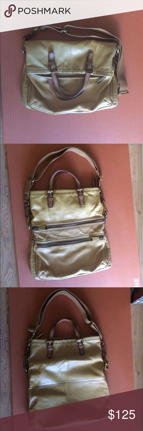 """Fossil Explorer Foldover Crossbody Bag Mustard colored leather crossbody bag with handles and removable strap. This bag snugly fits a 15"""" laptop (Mac) when unfolded and has several pockets inside to help you organize your items. Fossil Bags Crossbody Bags"""