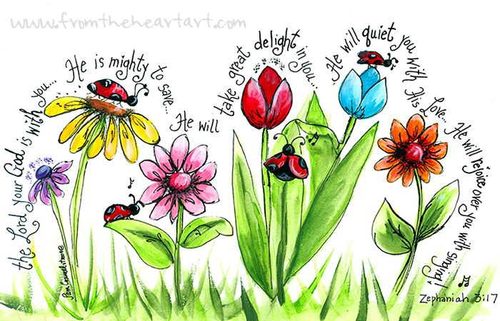 Ladybug Parade Print (Zephaniah 3:17) - great art project idea, but can use different flowers & verses...maybe a tree or two?!