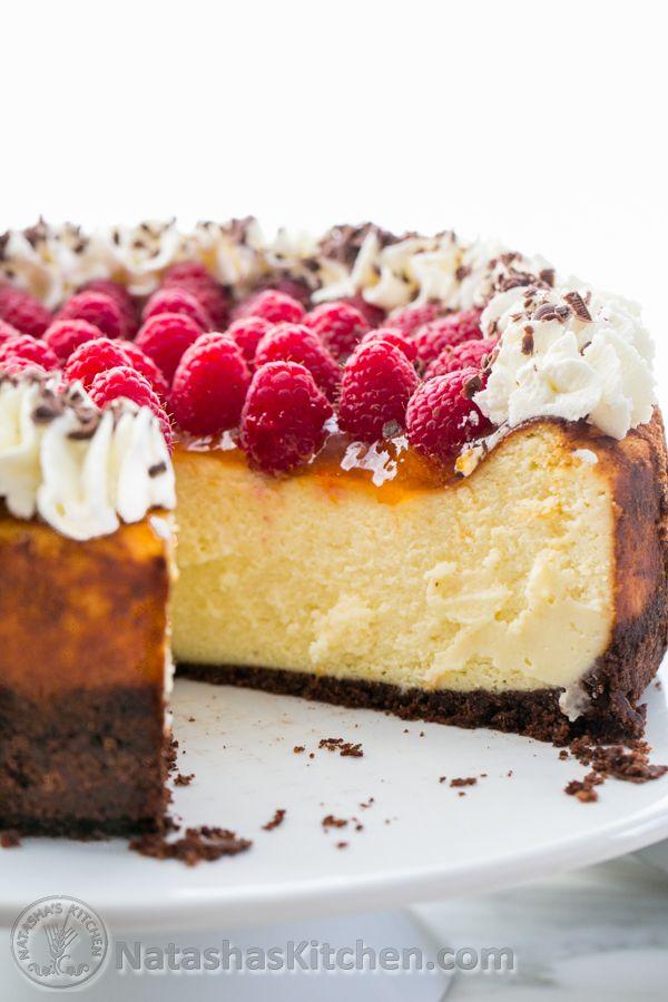 Raspberry Apricot Cheesecake with Chocolate Crust @NatashasKitchen