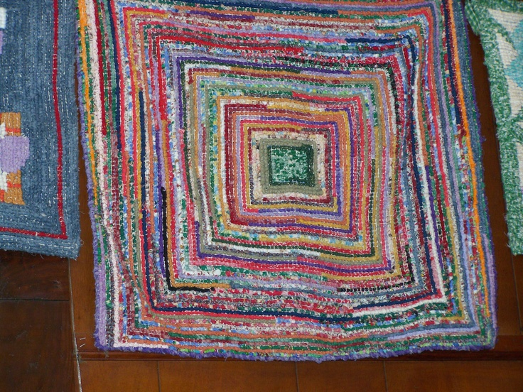 Using my scraps a colorful locker hooked rug I made.
