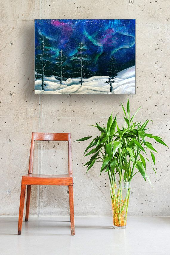 Northern lights modern galaxy art Teal blue Home decor