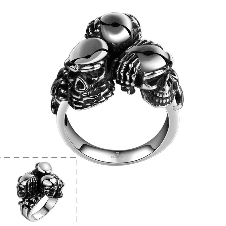 US# 8-11 Lureme New Design Punk Gothic Style Stainless Steel 3 Skull Antique Silver Black Rings for Boys and Men Holiday Gifts