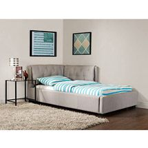 Or, we could make something like this for the corner and utilize a regular twin frame & mattress.
