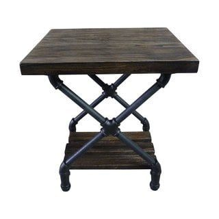 Houston Industrial Metal with Reclaimed Aged Wood Finish Vintage Pipe End Table | Overstock.com Shopping - The Best Deals on Coffee, Sofa & End Tables #palletcoffeetables