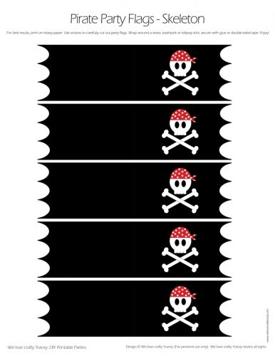 Pirate Party Flags - Skull and Cross Bones Flags - DIY Printable Parties