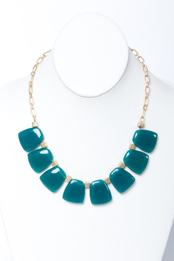 teal links necklace