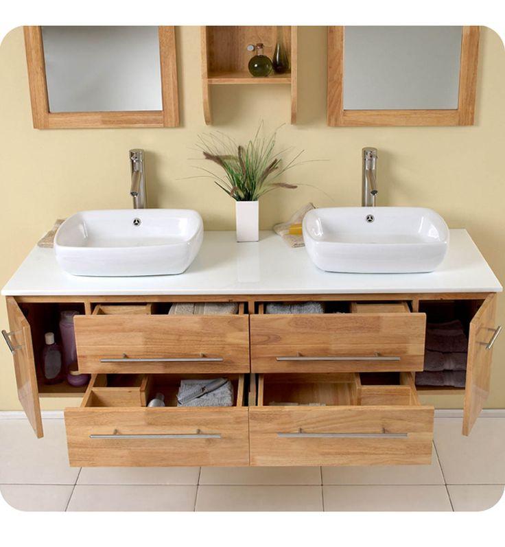 Natural Wood Finish Badezimmer spiegelschrank, Bad