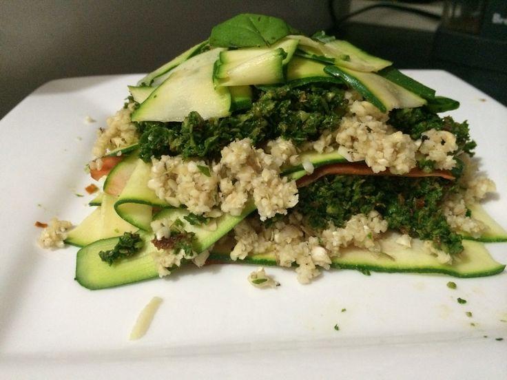 Raw, vegan lasagne with kale pesto and cashew 'cheese'