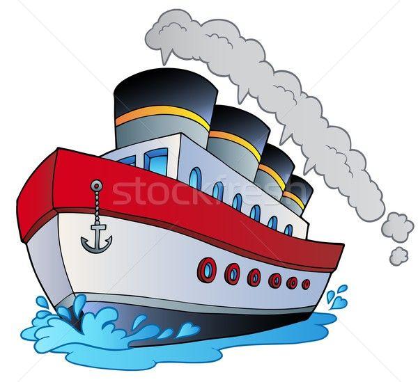 Grande desenho animado navio a vapor oceano viajar barco Foto stock © clairev