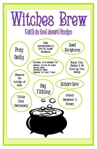 """Activity Day Ideas: Activity Days Faith In God """"Witches Brew"""""""