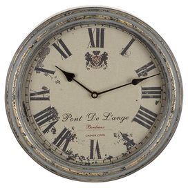 """Weathered wall clock with Roman numeral dial.  Product: Wall clockConstruction Material: Iron and MDFColor: Grey and beigeAccommodates: Batteries - not includedDimensions: 14"""" DiameterNote: Not recommended for outdoor useCleaning and Care: Wipe with a dry cloth"""