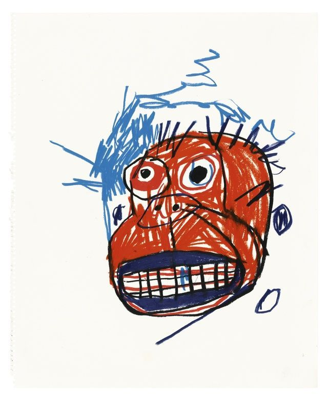 Jean-Michel Basquiat oilstick on paper 18 1/8 by 15 7/8 in. 46 by 37.7 cm. executed in 1982