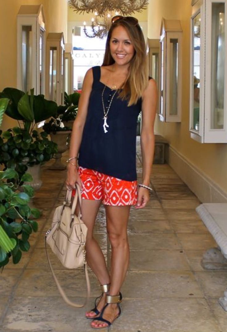 Lightweight orange geometric shorts. Navy sleeveless. Resort style. Stitch fix. Navy sandal with gold detail